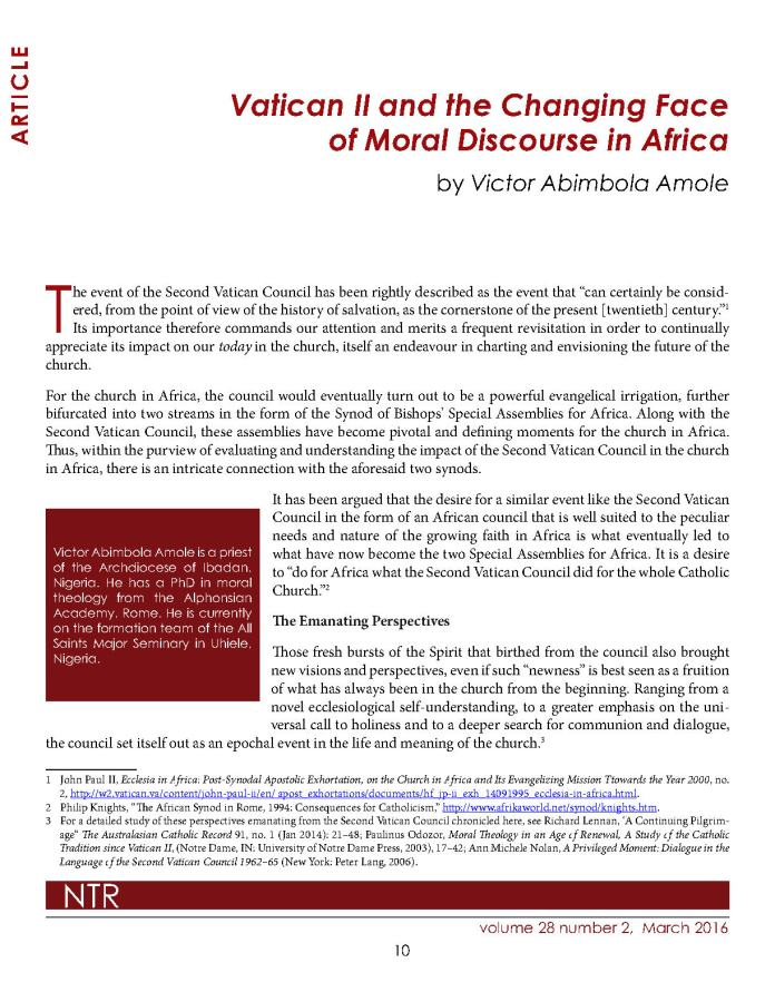Vatican  II  and  the  Changing  Face  of Moral Discourse in Africa_Page1